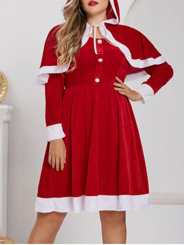 Plus Size Christmas Velvet A Line Dress with Hooded Cape Set - RED - L