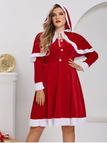 Plus Size Christmas Velvet A Line Dress with Hooded Cape Set