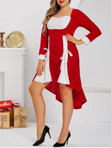 Plus Size High Low Lace Up Velvet Midi Dress - RED - 3X