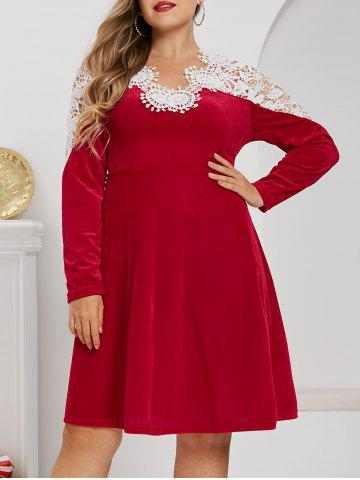 Plus Size Velvet Christmas Applique Panel A Line Dress - RED - 5X