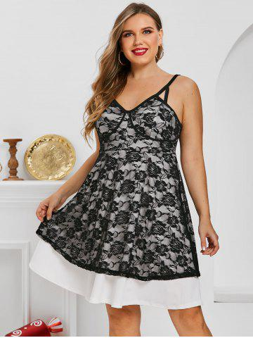 Plus Size Lace Flowers Overlay Backless Cupped Dress