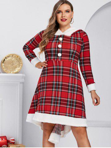 Plus Size Plaid Hooded A Line Faux Fur Panel Knit Dress