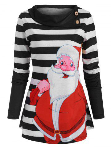 Christmas Santa Claus Striped Button Embellished T Shirt