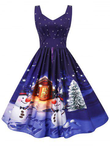 Christmas Santa Claus Tree Gift Print Sweetheart Dress