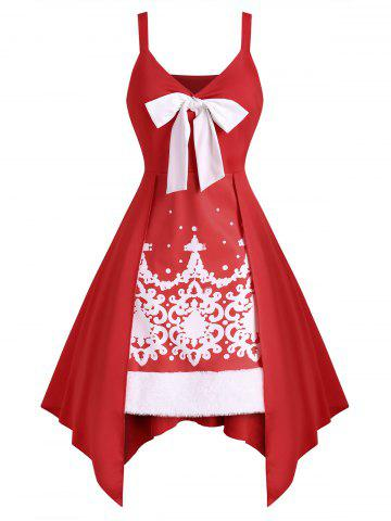 Bowknot Baroque Print Faux Fur Insert Handkerchief Dress