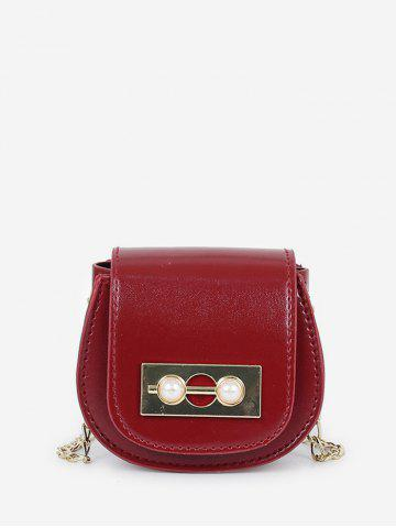 Faux Pearl Chain Mini Saddle Bag - RED WINE