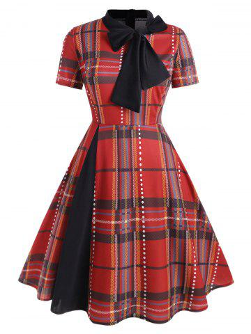 Plus Size Vintage Bow Tie Plaid Flare Dress - RED - L