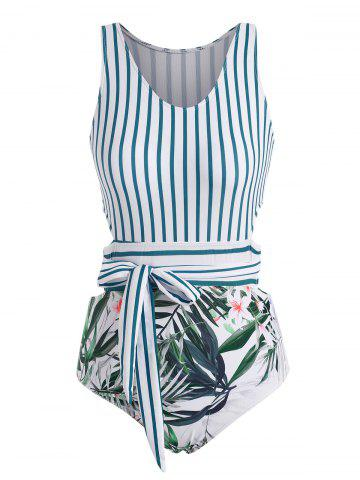Stripes Plant Print Tie Back One-piece Swimsuit - LIGHT BLUE - XL