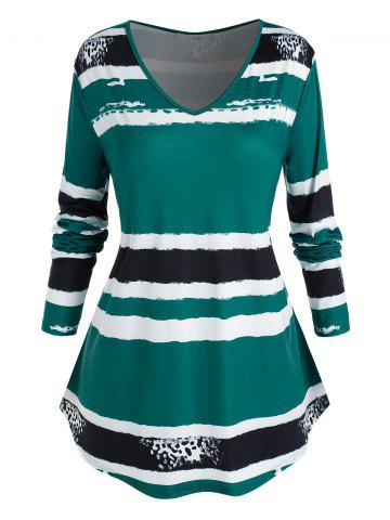 Plus Size V Neck Striped Curved T Shirt