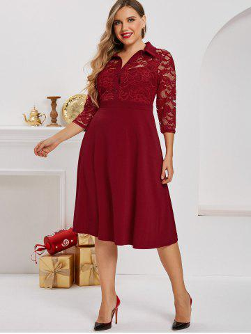 Plus Size Lace Panel Half Button Midi Dress