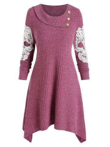 Embroidery Skull Buttons Sweater Dress