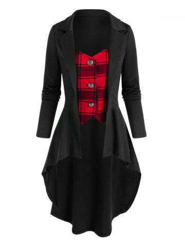Plaid Pattern Faux Twinset High Low Skirted Coat - BLACK - L