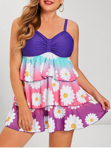 Plus Size Ombre Color Floral Print Layered Tankini Swimwear - PURPLE - 5X