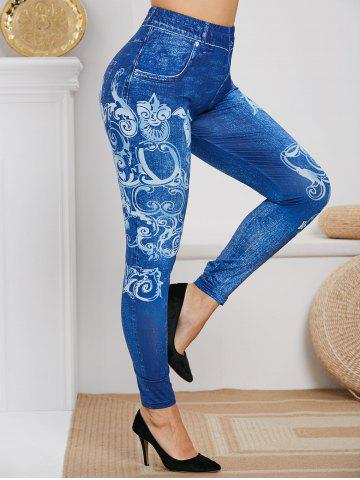 Plus Size High Rise Tribal Print Skinny Jeggings - BLUE - L