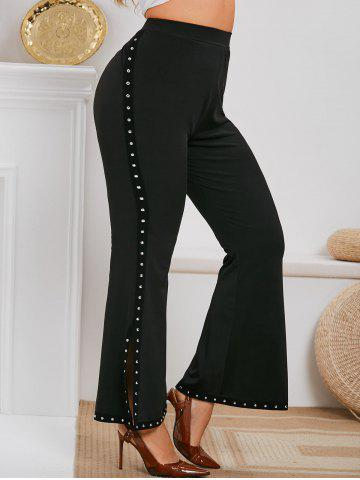 Plus Size Rivet Embellished Side Slit Flare Pants