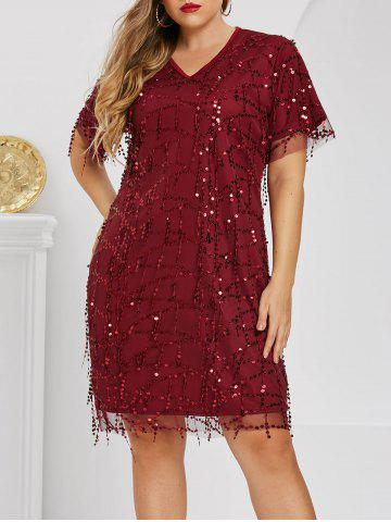 Plus Size Sequin Party Dress - DEEP RED - 2XL