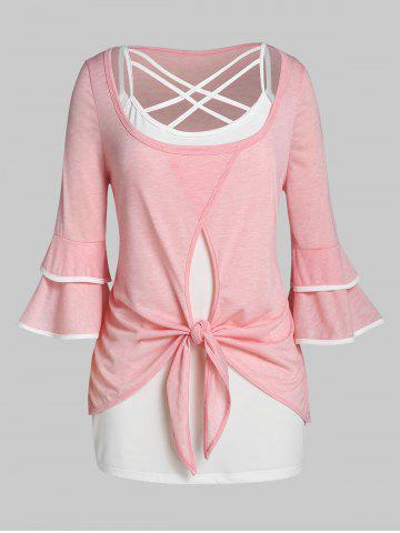 Plus Size Knot Layered Flare Sleeve T-shirt with Lattice Top Set