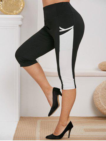 Plus Size Pocket Colorblock Capri Pants - BLACK - 1X