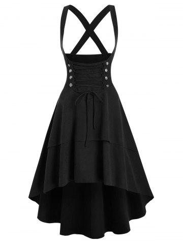 Lace Up Layered High Low Suspender Skirt