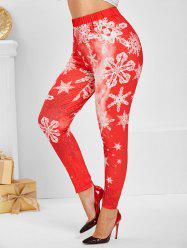 Plus Size Christmas Snowflake Print Leggings -