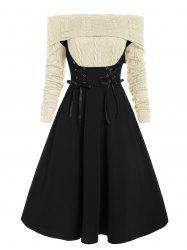 Off The Shoulder Lace Up Cable Knit Mixed Media Dress -