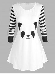 Plus Size Panda Pattern Striped Sleeve T Shirt -