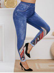Plus Size High Rise Christmas Print Skinny Jeggings -