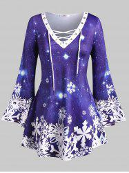 Lace Up Galaxy Snowflake Christmas Plus Size Top -