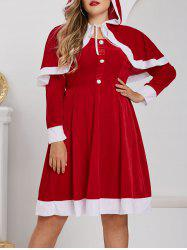 Plus Size Christmas Velvet A Line Dress with Hooded Cape Set -