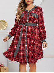 Plus Size Plaid Button Front Roll Tab Sleeve Belted Dress -