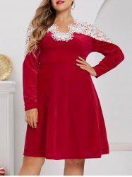 Plus Size Velvet Christmas Applique Panel A Line Dress -