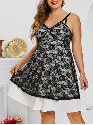 Plus Size Lace Flowers Overlay Backless Cupped Dress -