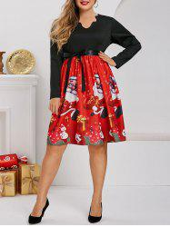 Scalloped Santa Claus Snowman Snowflake Christmas Plus Size Dress -