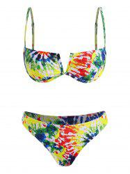 Colorful Tie Dye V-wire High Cut Bikini Swimwear -