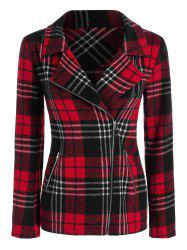 Zip Up Plaid Pattern Wool Blend Jacket -