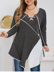 Plus Size Contrast Color Lace Up Asymmetric Knitted T-shirt -