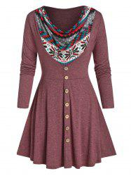 Plus Size Cowl Neck Print Buttoned Long Sleeve Tee -