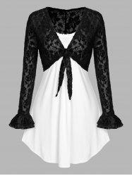 Plus Size Lace Tie Knot Crop Top and Camisole Twinset -