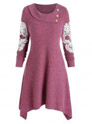 Embroidery Skull Buttons Sweater Dress -
