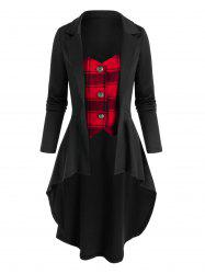 Plaid Pattern Faux Twinset High Low Skirted Coat -
