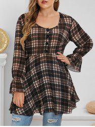 Plus Size Plaid Poet Sleeve Semi Sheer Blouse -
