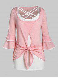 Plus Size Knot Layered Flare Sleeve T-shirt with Lattice Top Set -