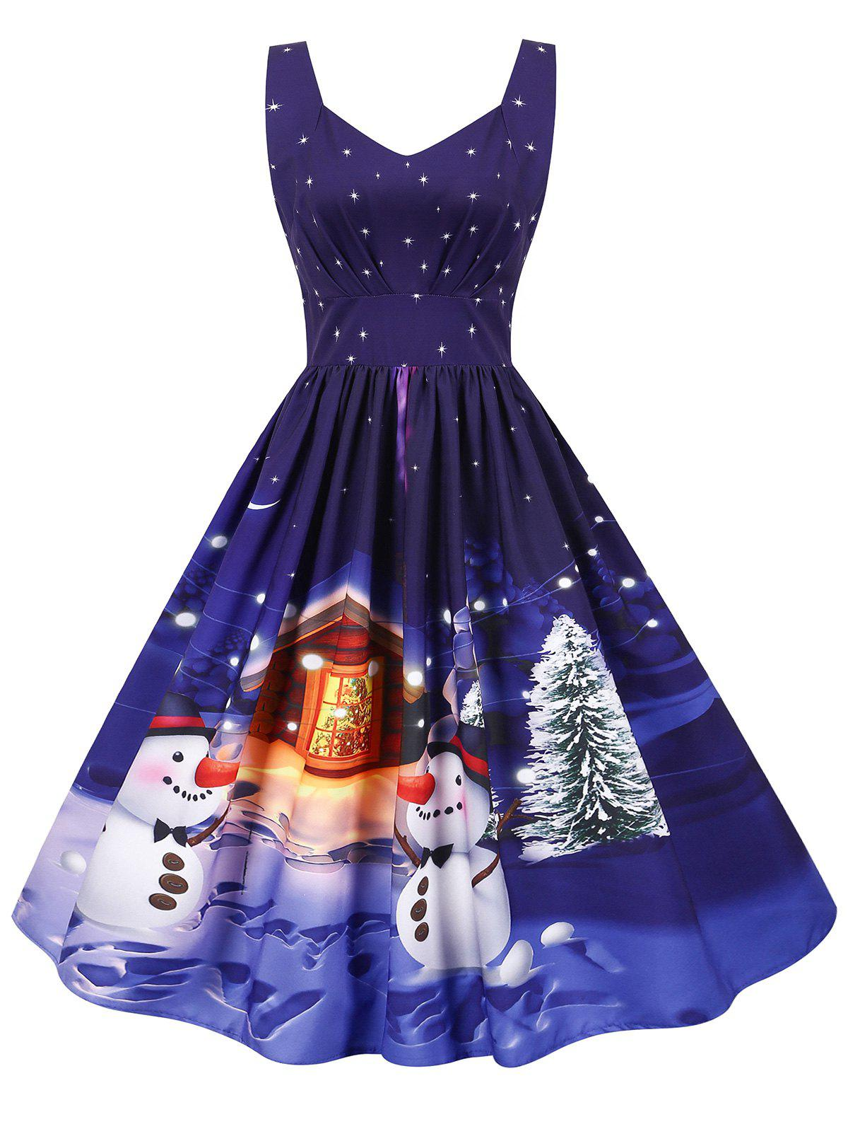 Shops Christmas Santa Claus Tree Gift Print Sweetheart Dress