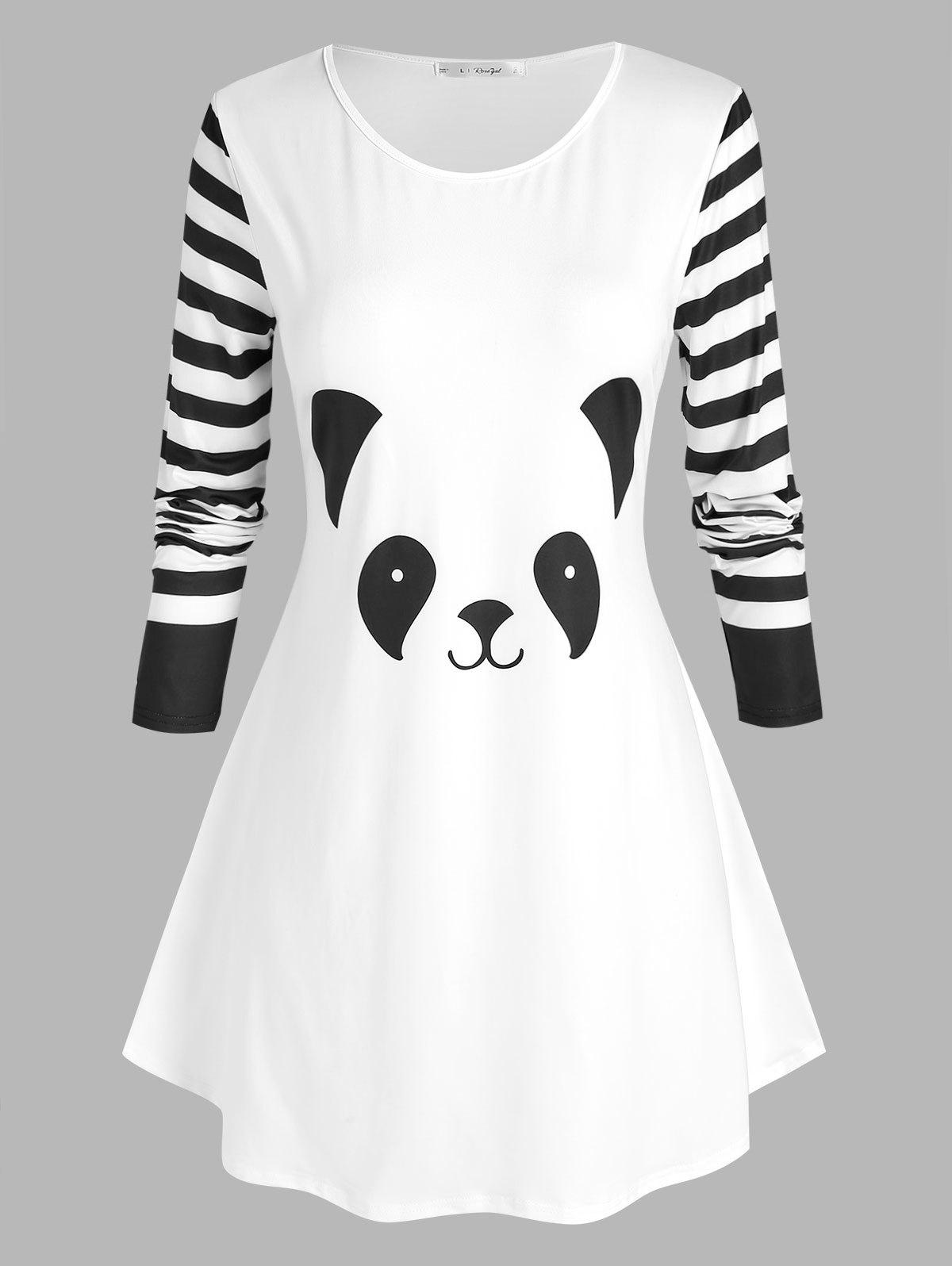 Cheap Plus Size Panda Pattern Striped Sleeve T Shirt