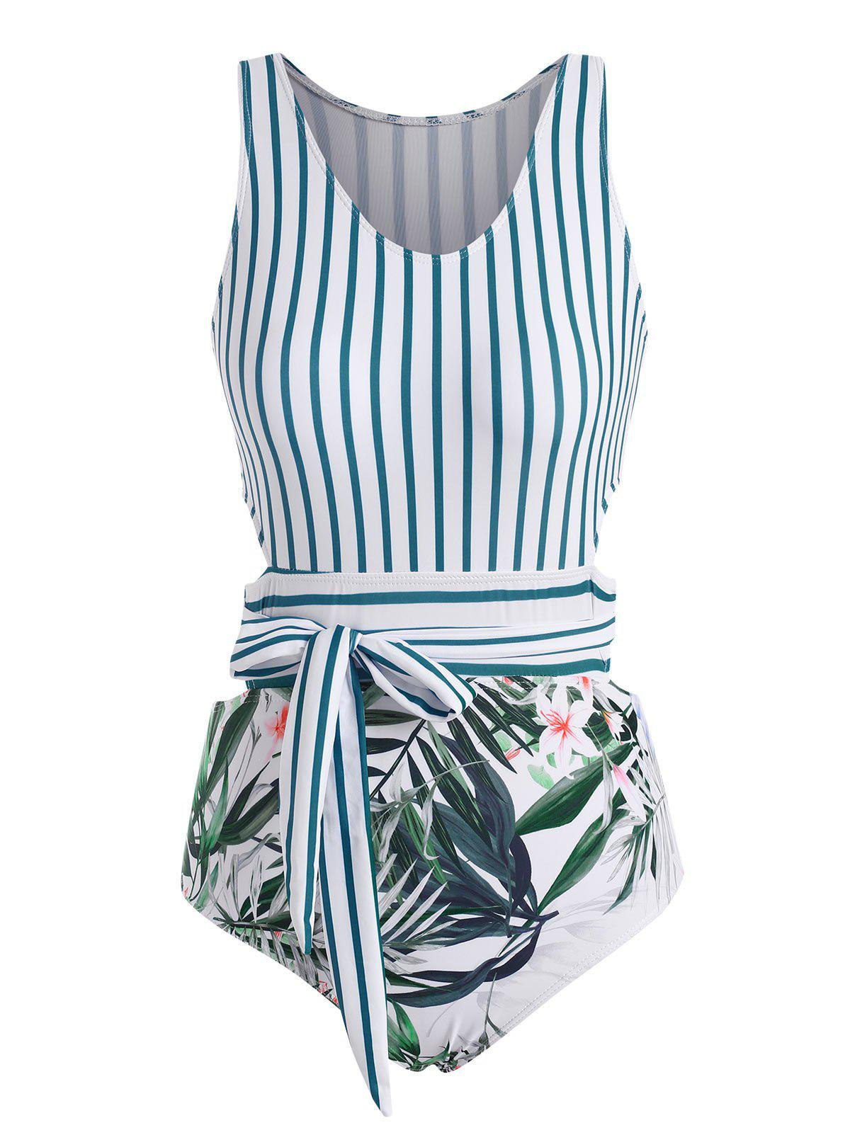 Best Stripes Plant Print Tie Back One-piece Swimsuit