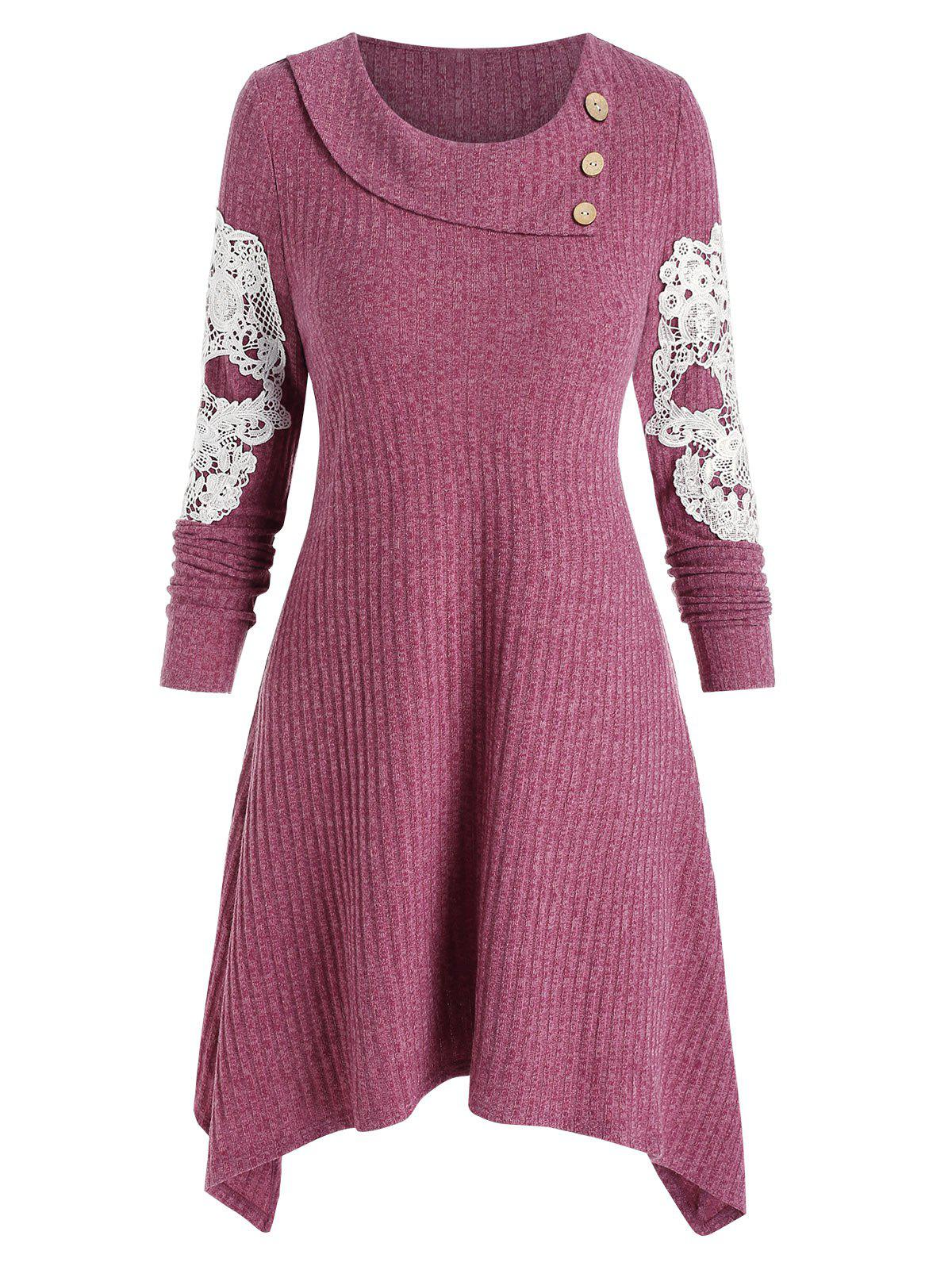 Discount Embroidery Skull Buttons Sweater Dress