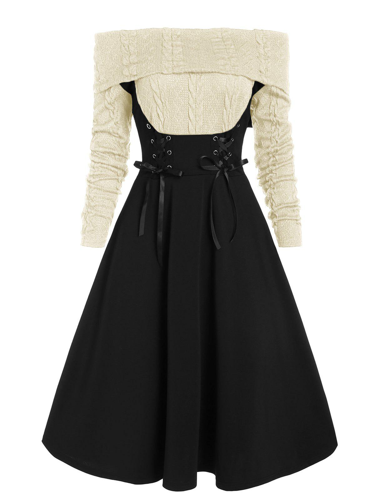 Online Off The Shoulder Lace Up Cable Knit Mixed Media Dress