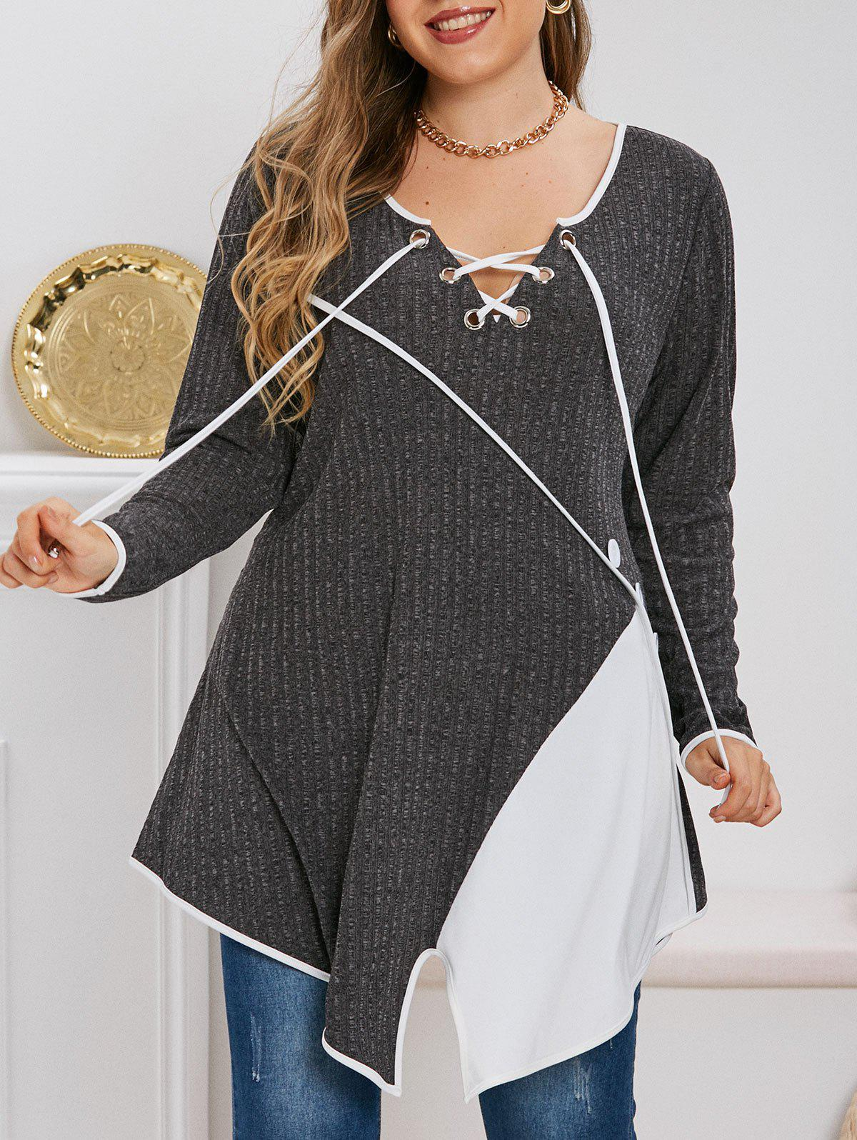 Plus Size Contrast Color Lace Up Asymmetric Knitted T-shirt
