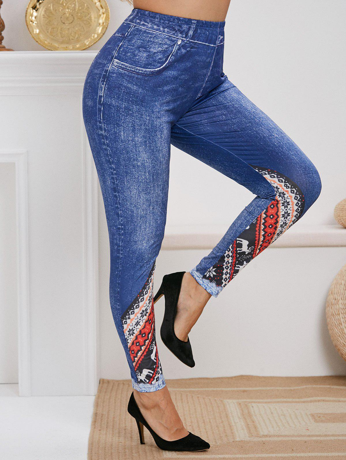Fancy Plus Size High Rise Christmas Print Skinny Jeggings