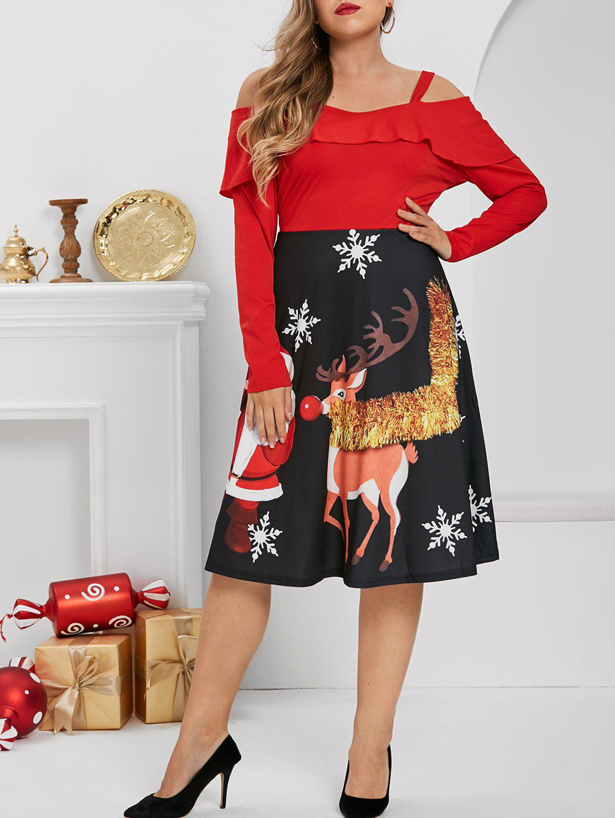 Plus Size Ruffle Cold Shoulder Christmas Printed Dress
